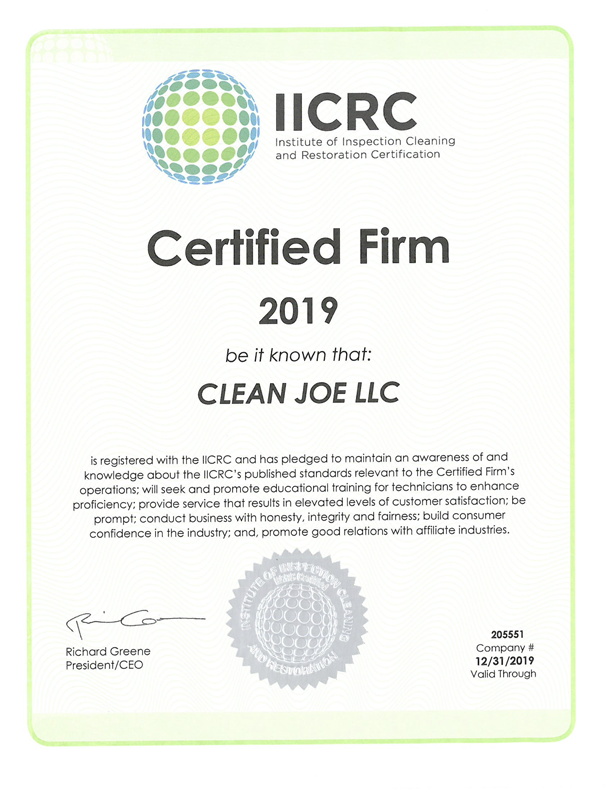 Professional Cleaning Certifications Clean Joe